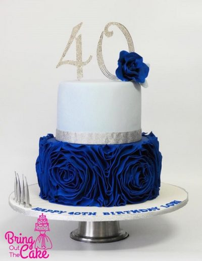 40th birthday blue ruffle