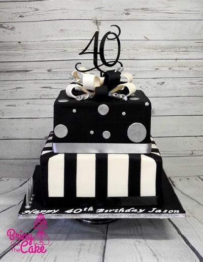 square male 40th birthday cake, black, silver and ivory