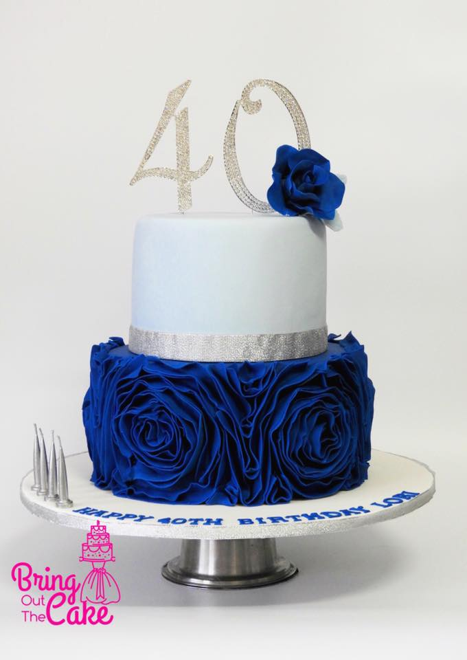 40th Birthday Cake With Rosette Ruffles And Sugar Rose
