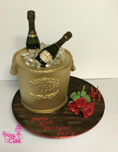 60th Birthday Champagne ice bucket cake