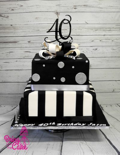 Male 40th birthday cake, black, silver and ivory