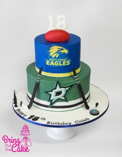 Dallas Stars Ice Hokey and AFL West Coast Eagle 18th Birthday Cake