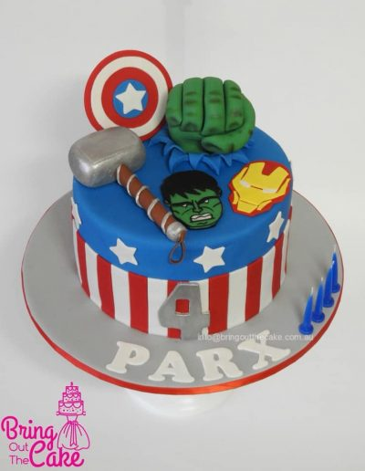 Avengers cake with hulk, captain America, Thor and iron man