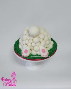 Fluffy bunny Easter cake with home made marshmellows