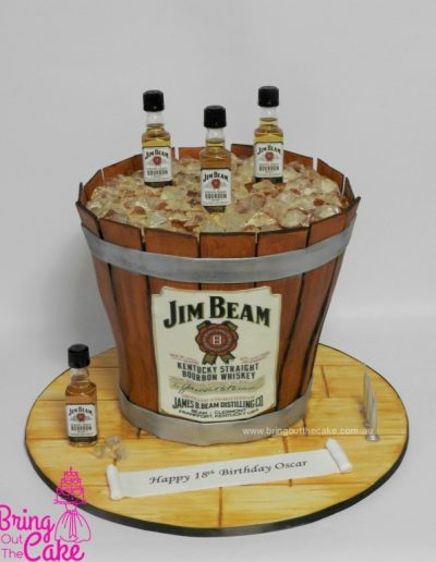 Jim Beam Cake, Bourbon Cake, Wooden Barrel Cake, Cake Maker Berwick, Cake Decorator Berwick