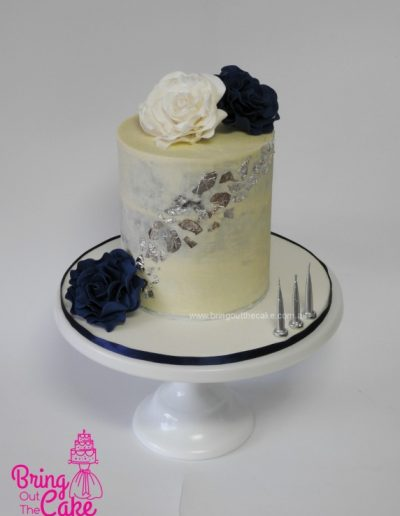 White, Navy and Silver cake, cake maker Berwick