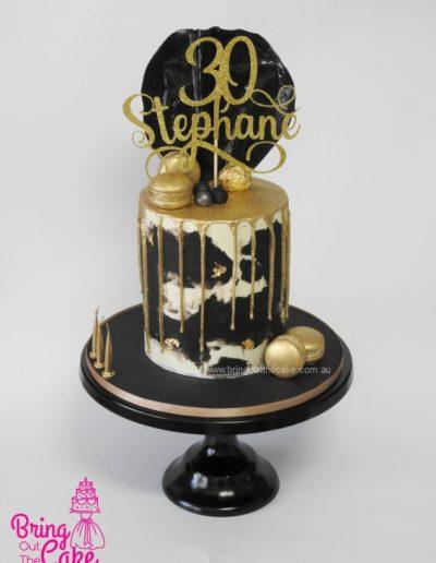 Black, White and Gold Drip cake, cake maker Berwick, custom cakes Berwick