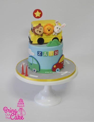 Animal Bus cake, Jungle bus cake, transport cake