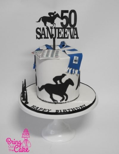 50th Birthday Cake - Horse Racing and Football theme.
