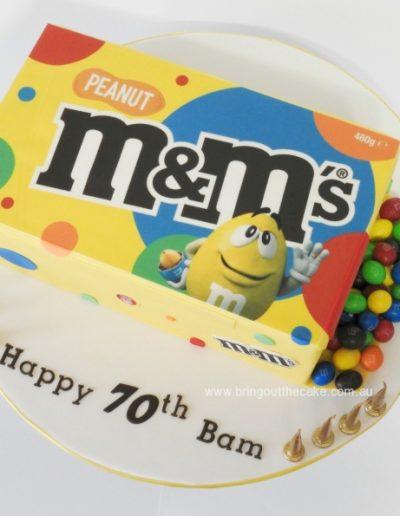 Peanut m & m's box cake